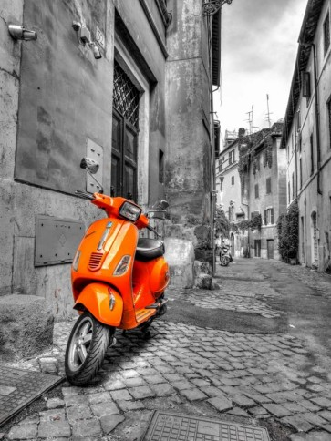 Assaf Frank - Scooter parked in narrow street of Rome, Italy