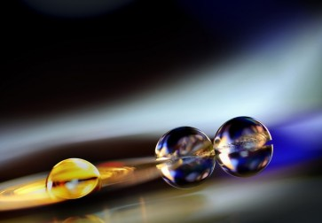 Scott Linas - Gold and Blue Bubble, Black Background