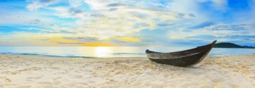 Fred Mouse - Panorama view of Beach With Wooden Boat
