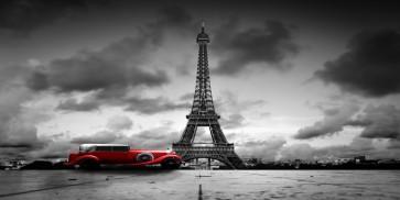 Vlad Kamir - Vintage Red car, Eiffel Tower