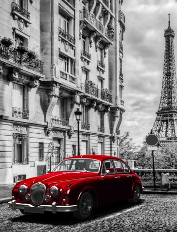 Vlad Kamir - Vintage Red Car Eiffel Tower in Back
