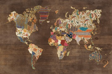 Laura Marshall - Pattern World Map on Wood