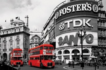 Piccadilly Circus - (Red Buses)