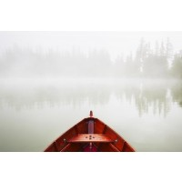 Boat - Red - Foggy Morning at the Lake