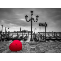 Assaf Frank - Heart shaped umbrella next to lamp post at Gondola hiring point, Venice, Italy