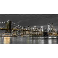 Assaf Frank - Brooklyn Bridge and lower Manhattan skyline at dusk, New York