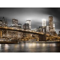 Assaf Frank - Evening shot of Brooklyn Bridge with Lower Manhattan skyline, New York