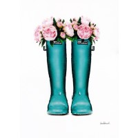 Amanda Greenwood - Teal Rain Boots with Peony
