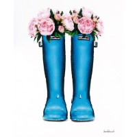 Amanda Greenwood - Blue Rain Boots with Peony