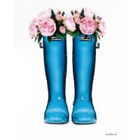 Amanda Greenwood - Blue Rain Boots with Peony
