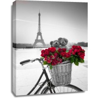 Assaf Frank - Teddy Bears and bunch of red roses on bicycle with Eiffel tower in the background