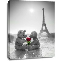 Assaf Frank - Two Teddy bears with a rose next to the Eiffel tower