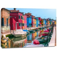 Assaf Frank - Multi-Coloured houses next to a canal, Burano, Italy