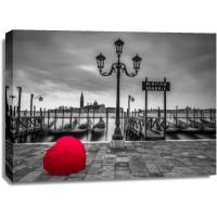Assaf Frank - Heart shaped umbrella next to lamp post at Gondola hiring point, Venice, Italy