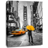 Assaf Frank - Man with yellow umbrella at Times square, New York