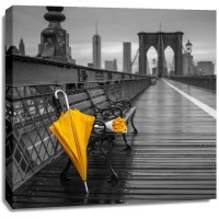 Assaf Frank - Yellow umbrella and bunch of roses on bench on pedestrian pathway, Brooklyn bridge, New York
