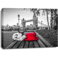 Assaf Frank - Red Hat with bunch of Roses on a bench near Tower Bridge, London, UK