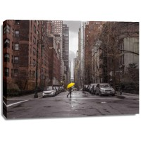 Assaf Frank - Tourist with yellow umbrella on street of Manhattan, New York