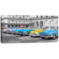 Assaf Frank - Traditional cuban cars parked in row by the road in Havava, Cuba, FTBR 1849