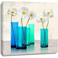 Ann Cynthia - Poppies in crystal vases (Aqua I)