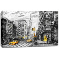 Arthur Heard - Street View Of New York - Black, white and Yellow