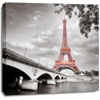 Pero Roshni - Eiffel Tower Monochrome and Red II