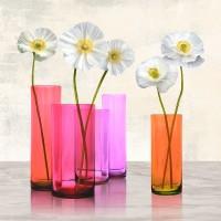 Ann Cynthia - Poppies in crystal vases (Purple I)