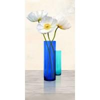 Ann Cynthia - Poppies in crystal vases (Aqua II)