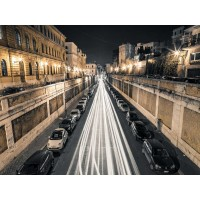 Assaf Frank - Strip Lights on road, Rome, Italy