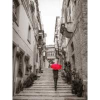 Assaf Frank - Tourist with umbrella in steps through houses in Birgu, Malta
